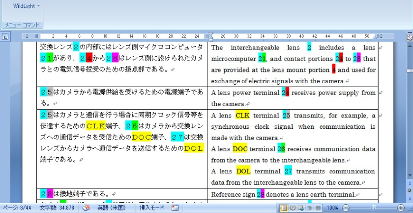 WildLight数の色付け辞書結果